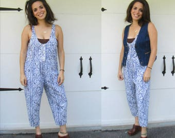 1980s Cotton Romper Jumper // Blue and White Print Above Ankle One Piece Overalls
