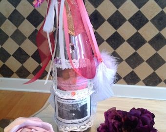 GYPSY that I WAS....candle holder,Stevie Nicks, WINEBOTTLES, taper candleholder, romance, bohemian, Goddess, magic, lace, paper flowers