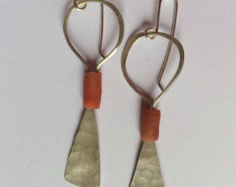 Sterling silver hand hammered long earrings. Drop dangle earrings contemporary design