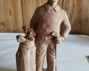 Tom Sheler 1994 Item 401 Unfinished Pecan Resin Man Golfer with Clubs