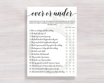 Over or Under Game, Funny Bridal Shower Games, Bachelorette party, Wedding Shower Activity, Over or Under the Number, Bridal Shower ideas