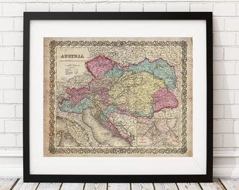 Austria Map Print, Vintage Map Art, Antique Map, Wall Art, Old Maps, Map of Austria, Map Art, Map Poster, Austrian Gifts, Office Wall Decor