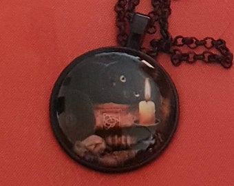 The Witching Hour' black cat cabachon pendant and black chain