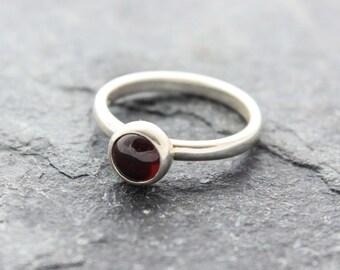 Garnet Stacking Ring - Sterling Silver Ring, Silver Garnet Ring, Red Gemstone Ring, Modern Ring, Engagement ring, January Birthstone Ring