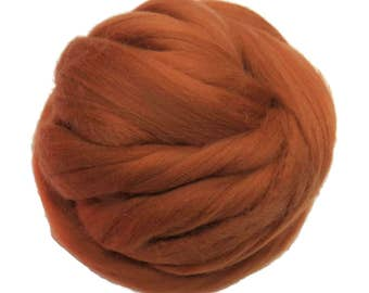 Merino / Silk  Roving, (Cinnamon)