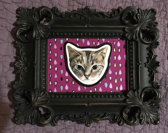 Painted Cat Face- 7 x 10 in -Standing Baroque Frame