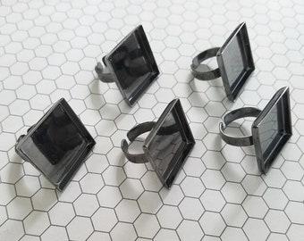 Set of 5 (five) 25mm gun metal adjustable rings ring blanks ring bezel photo jewelry