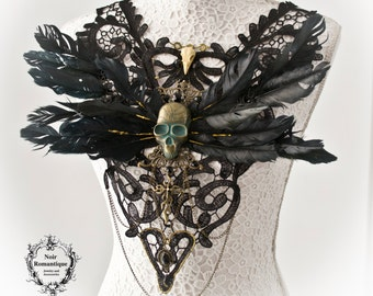Santa sagre lace chestpiece-gothic shoulderpiece/chestpiece-wgt-lace collar-gothic couture-haute goth-gothic collar-fantasy-feathers