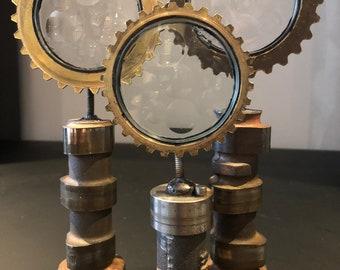 Set of 3 'Magiscope' lens vintage sculptures by Feliciano Bejar