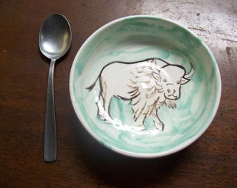sacred white buffalo in a 6 inch bowl