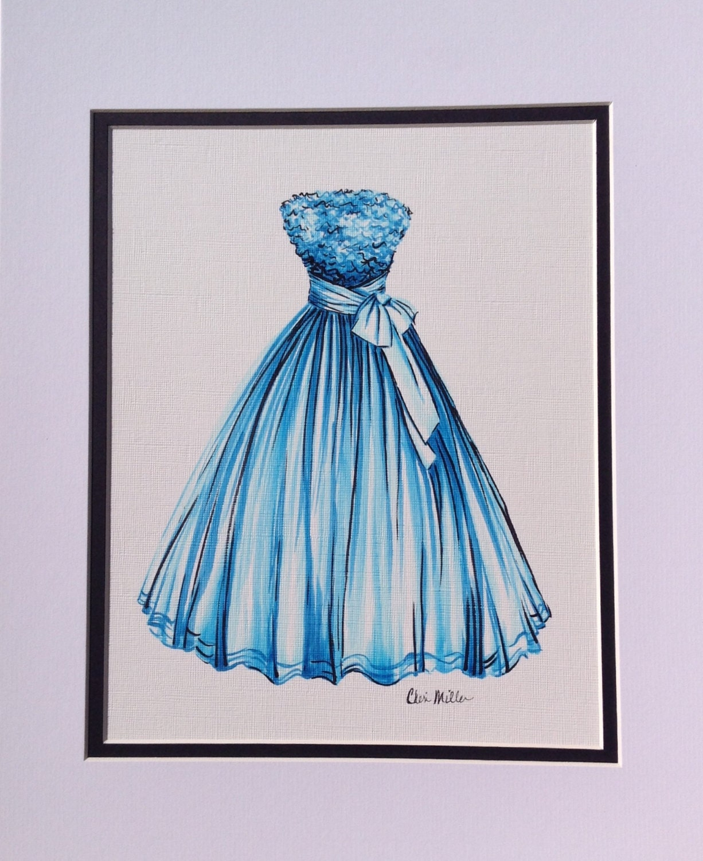 Fashion illustration. Dress Painting. Fashion Drawing. Fashion