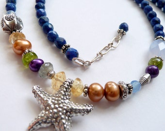 Handcrafted Artisan Starfish Multi Colored Semi Precious Stone Fresh Water Pearl Sterling Silver OOAK Boho Hippie Gift for Her Necklace