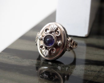 Gilt Nouveau Skonvirke Silver and Amethyst Ring Size 5.75