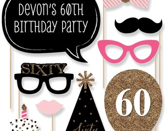 Chic 60th Birthday – Pink, Black, and Gold Party Photo Booth Props - Adult Birthday Party Photobooth Kit with Custom Talk Bubble - 20 Pieces
