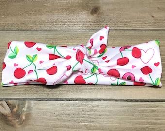 Cherry Headband- Baby Headwrap Baby Head Wraps Tie Knot Headband Matching Baby Headbands Girls Headbands Newborn Headband Jersey Knit