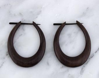 Medium Oval Hoops Sono Wood Post Earrings