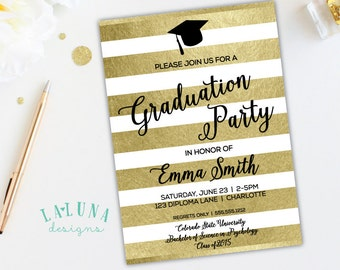 Graduation Party Invitation, Graduation Invitation, Gold Stripe, Graduation Invite, Faux Gold Foil Invitation, Graduation Cap