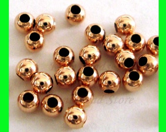 60pcs 2mm 14k ROSE  gold filled seamless shiny round bead spacers RB02