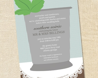 Sweet Wishes Southern Mint Julep Derby Party Invitations - PRINTED - Digital File Also Available