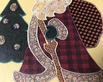 APRILSALE Vintage 1995 Walkabout Santa Country Borders What's Now, 73104 iron on Fabric Appliqué Kit
