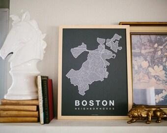 BOSTON Map. Screen Print Poster. Neighborhood Map. Modern Home Decor Print. Boston Massachusetts Art Poster. Multiple Colors.