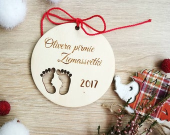 Baby first christmas 2017 ,Laser cut ornament, Personalised with your name