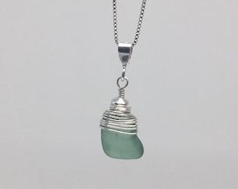 Genuine Sea Glass - Sea Foam Green, Sterling Silver necklace, wire wrapped