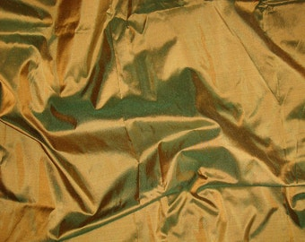 dupioni silk fabric - green mustard silk fat quarter sld134