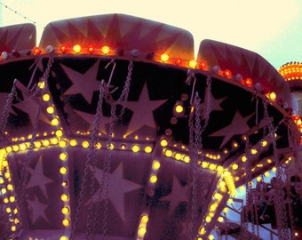 Chicago Photography, Kiddieland photo, vintage carnival photography, stars, lights, children's room, Signed Print  - OR WAS It A DREAM?