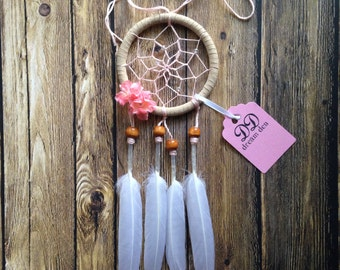 """3"""" Floral Pink and Cream Dream Catcher"""