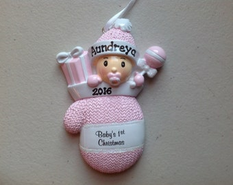 33% Off Personalized Baby Girl's First Christmas Ornament Pink Mitten  Newborn, 1st Birthday , Birth Announcement , Christening Favors