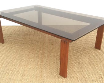 DANISH Teak Coffee Table with Bronzed Tinted Glass Top 1970,s