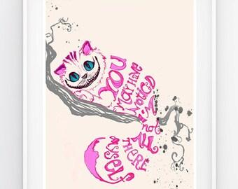 Alice in Wonderland Cheshire Cat- Minimalist Design - Quote print