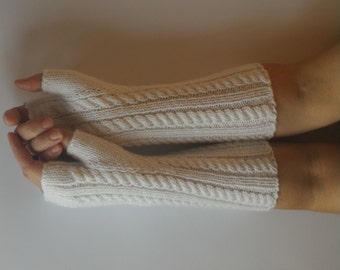 White Fingerless Gloves, White Wool Gloves, Wool Arm Warmers, Hand Knitted Gloves, Fingerless Mittens, Wool Wrist Warmers, Woman's Mittens