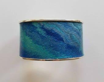 Wide silverplated cuff bracelet, various blue colors, cuff bracelet, adjustable 1.25 inch width