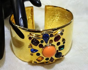 Beautiful (Kenneth Jay Lane) Wide Gold Tone Jewelled Maltese Cross  Cuff