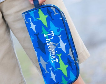 Shark Pencil case, blue shark pencil pouch, boys pencil bag, embroidered pencil case, shark pencil bag, back to school, personalized pencil