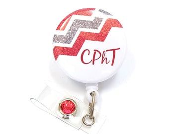 CPhT Badge Reel - Pharmacy Tech Gifts - Retractable Badge Clip - Pharmacy Technician Gift - Name Badge Holder - ID Badge Pull - BadgeBlooms