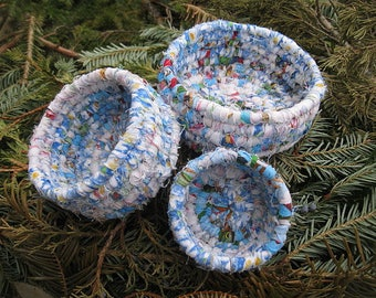 NESTED SET of BLUES  textile art coiled baskets Set of Three