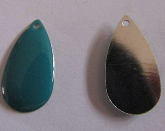 2 turquoise sequin pendants 21mmx11mm
