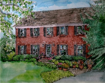 House, Home, Building Portraits in Pen and Ink  and Watercolor,Custom Original House Portraits,Watercolor Home,House Pen and Ink
