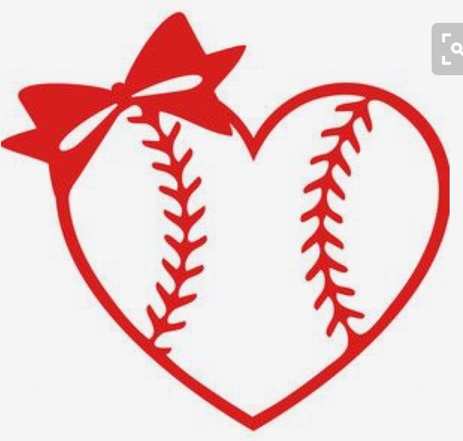 Baseball/ Softball Heart With Bow Yeti Decal
