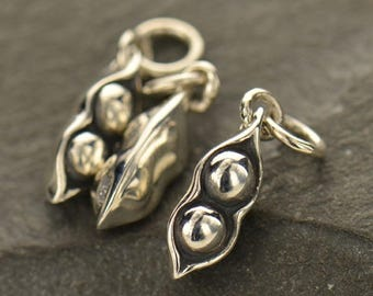 Sterling Silver, Two Peas, Peas in a Pod, Pea Pod Charm, Pea Pod Pendant, Silver Pea Pod, Two Silver Peas, Pea Pod Jewelry, Family Jewelry