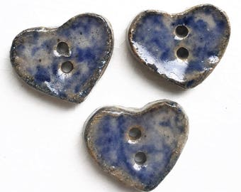rustic eco friendly handmade pottery buttons with mottled blue and gray glaze--matching lot of 3