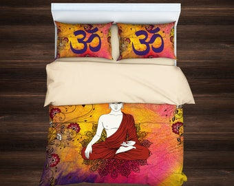 Buddha bedding, Buddha duvet covers, Buddhism, Boho Bedding, Mandala Bedding, Yoga culture bedding, Spiritual Beddin,Sacred Mandala Bedding