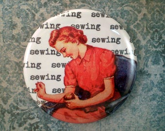 Retro Mom Sewing Magnet, pin or pocket mirror, 2.25'' inch, vintage book illustrations, Retro Mothers Day, vintage mom magnet