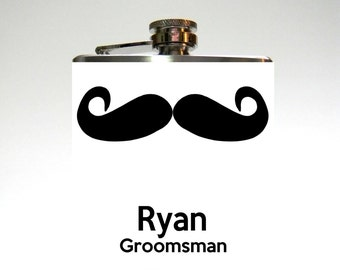 Groomsman Flask : Mustache Custom