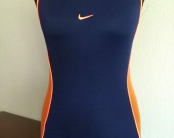NIKE Swimsuit One Piece Vintage Bathing Suit  Blue Orange Swimwear Medium size