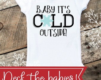 Baby It's Cold Outside Onesies® For Girl, Christmas Onesie For Baby Girl, Winter Onesie, Christmas Gift For Baby, Baby Singlet, Girl Onesie
