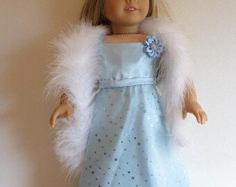 Blue satin gown and boa American made to fit 18 inch girl dolls